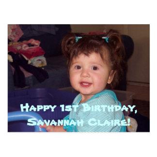 Savannah s 1st B-day postcard invites
