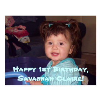 Savannah's 1st B-day postcard invites
