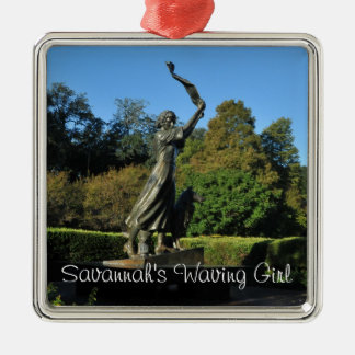 Savannah's Waving Girl Silver-Colored Square Decoration