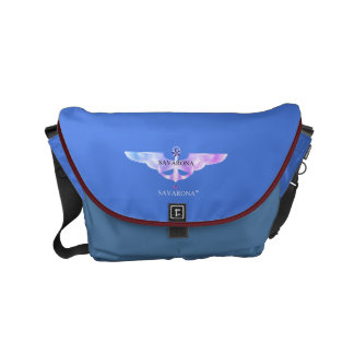 Savarona logo Skyblue Rickshaw Messenger Small Bag Courier Bag