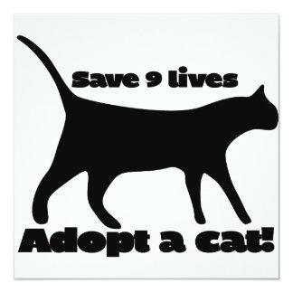Save 9 lives adopt a cat 13 cm x 13 cm square invitation card