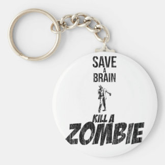 Save a brain Kill a zombie Basic Round Button Key Ring