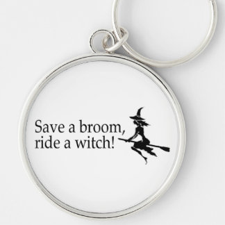 Save A Broom Ride A Witch 2 Silver-Colored Round Key Ring