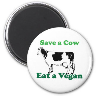 Save a Cow 6 Cm Round Magnet