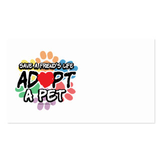 Save A Friend Adopt A Pet Double-Sided Standard Business Cards (Pack Of 100)
