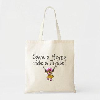 Save a Horse Ride a Bride Budget Tote Bag