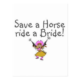 Save a Horse Ride a Bride Postcard
