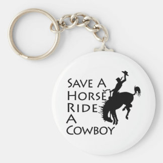 Save A Horse Ride A Cowboy Basic Round Button Key Ring