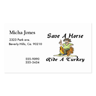 Save A Horse Ride A Turkey Pack Of Standard Business Cards