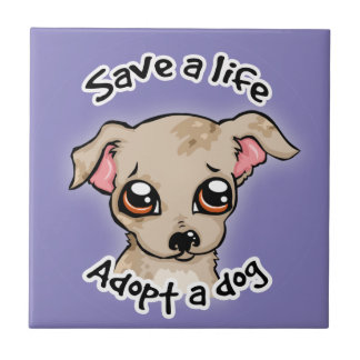 Save a life.. adopt a dog puppy logo small square tile
