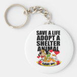 Save A Life Adopt A Shelter Animal Basic Round Button Key Ring