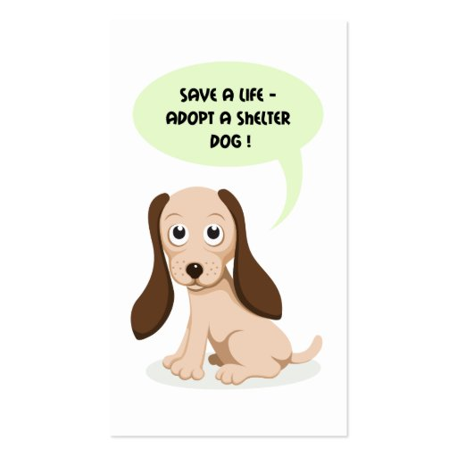 Save a life adopt a shelter dog  business card