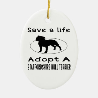 Save a life adopt a Staffordshire Bull Terrier Christmas Tree Ornament