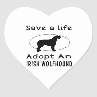 Save a life adopt an Irish Wolfhound Heart Stickers