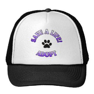 SAVE A LIFE ADOPT DOG CAT RESCUE PET MESH HATS