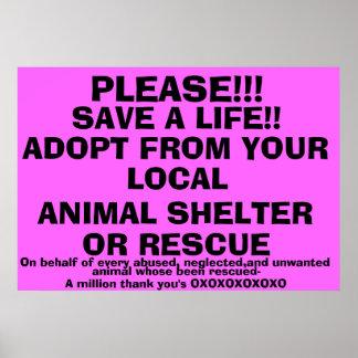 SAVE A LIFE-ADOPT! PRINT