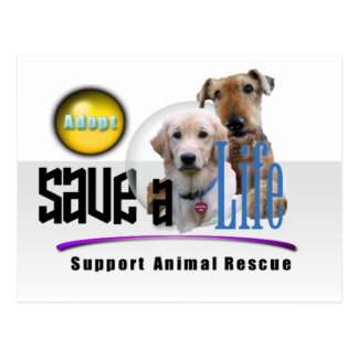 SAVE A LIFE - ADOPT - RESCUE ANIMALS - BE A FRIEND POSTCARD