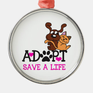 SAVE A LIFE Silver-Colored ROUND DECORATION