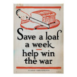 Save a loaf a week — help win the war poster