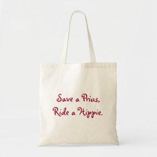 Save a Prius, Ride a Hippie Tote Bag