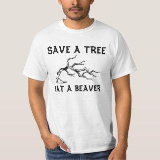 Save a tree eat a beaver t-shirt