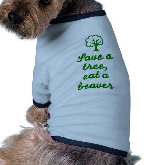 Save a tree eat beaver doggie t shirt