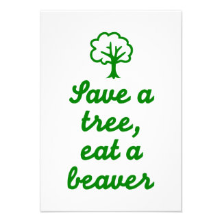 Save a tree eat beaver personalized announcement