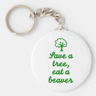 Save a tree eat beaver keychains