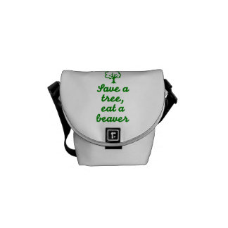 Save a tree eat beaver courier bag