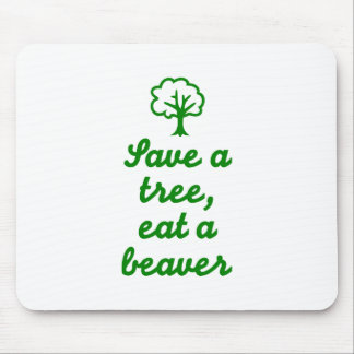 Save a tree eat beaver mouse pad