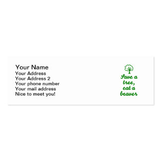 Save a tree eat beaver pack of skinny business cards