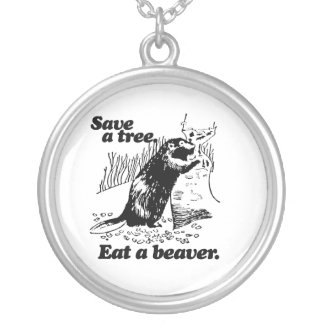 SAVE A TREE -.png Round Pendant Necklace
