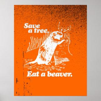 SAVE A TREE - WHITE - png Print