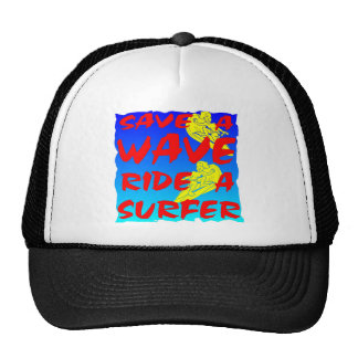 Save A Wave Ride A Surfer Mesh Hats