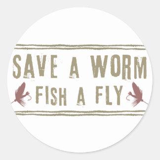 Save a Worm Round Sticker