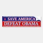 SAVE AMERICA - DEFEAT OBAMA BUMPER STICKER