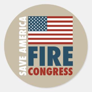 Save America Fire Congress Round Sticker