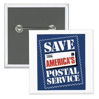 Save America's Postal Service 15 Cm Square Badge