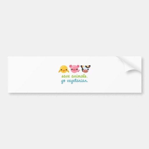 Save Animals Go Vegetarian Bumper Sticker