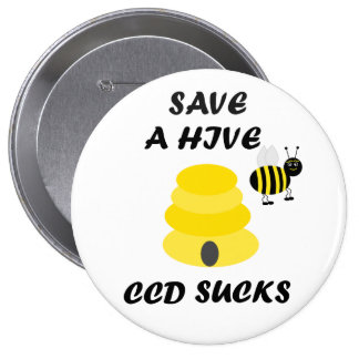 Save Beehives Button Pin