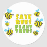 Save Bees Plant Trees Round Sticker