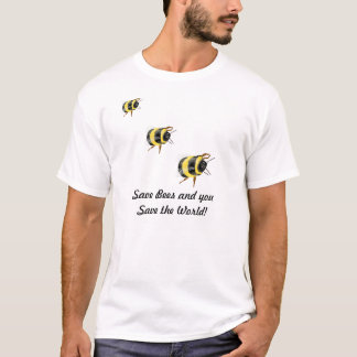 Save BEES save the world - bee ladybug art T-Shirt
