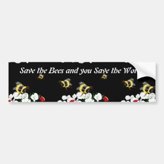 SAVE BEES save world - bee ladybug art Bumper Stickers