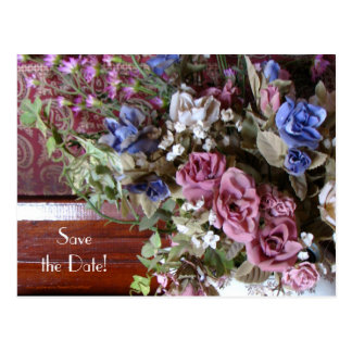 Save Date 40th Anniversary Party Vintage Flowers Postcard