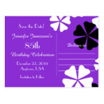 Save Date 85th Birthday Party Purple Announcement Postcard