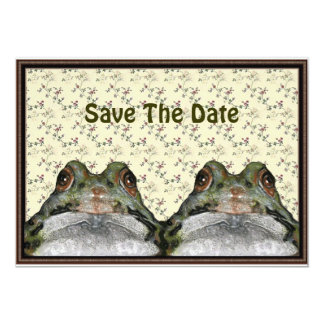 Save Date: Cute Frog Couple in Frame: Floral 13 Cm X 18 Cm Invitation Card