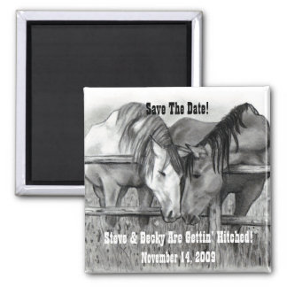 SAVE DATE: GETTING HITCHED: HORSE ART SQUARE MAGNET