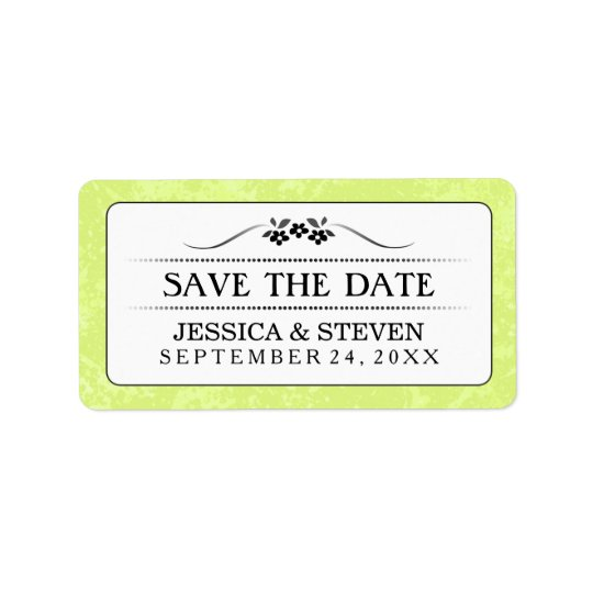 Save Date Label - Bright Green White Fancy Floral Address Label