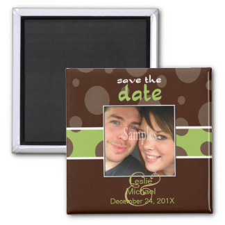 Save/Date Photo magnets/chocolate bubbles/green Square Magnet