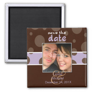 Save/Date Photo magnets/chocolate bubbles/lilac Square Magnet